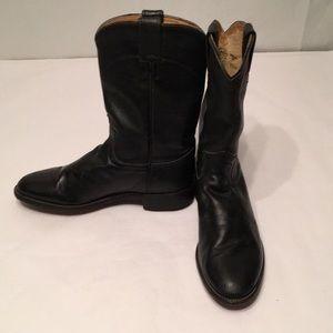 Justin black Roper leather women's boots 7.5 B